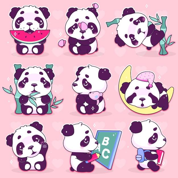 Niedliche panda kawaii cartoon-vektor-zeichen festgelegt Premium Vektoren