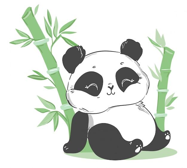 Niedliche panda und bambusillustration. zeichentrickfigur. Premium Vektoren