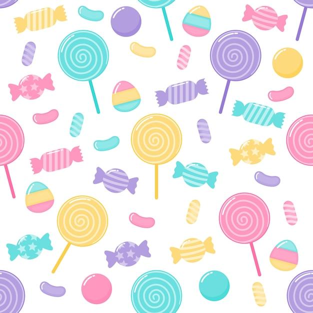 Niedliche pastell candy süße desserts nahtloses muster mit verschiedenen arten Premium Vektoren