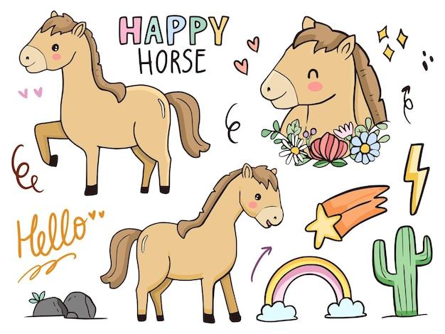 Niedliche pferdeillustrationszeichnungskarikatur für kinder und baby Premium Vektoren