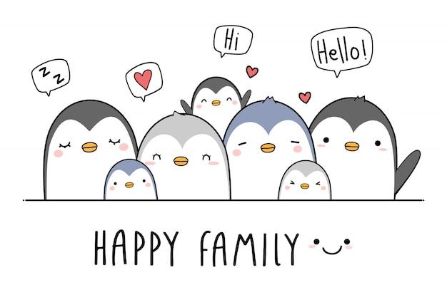Niedliche pinguinfamilien-grußkarikatur Premium Vektoren
