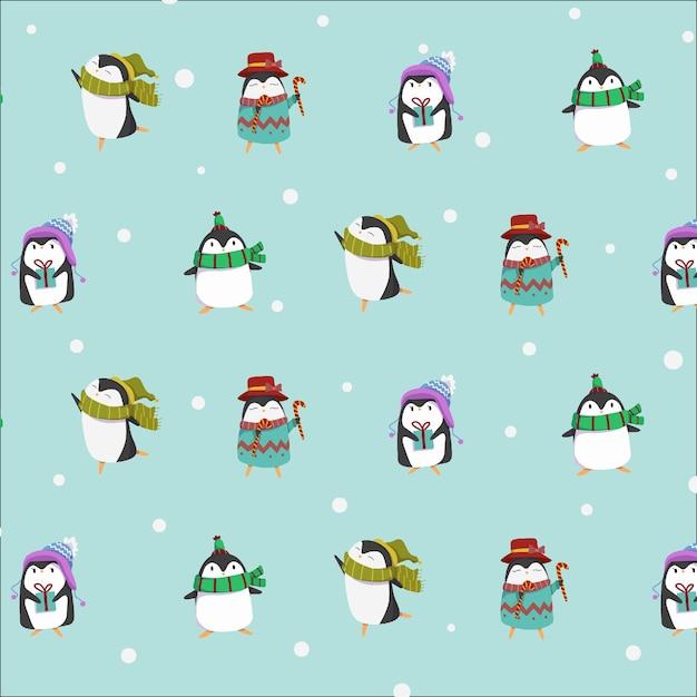 Niedliche pinguinwintercharakter-sammlung Premium Vektoren