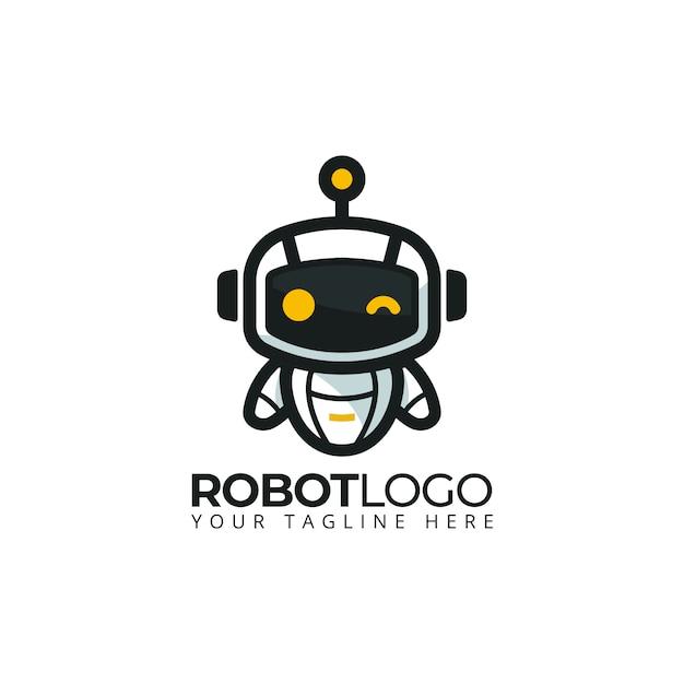 Niedliche robotermaskottchenlogo-cartooncharakterillustration Premium Vektoren