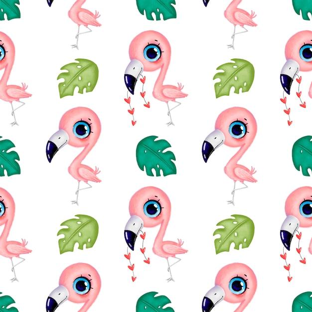 Niedliche rosa flamingos der karikatur mit nahtlosem muster der herzen und der tropischen blätter. nahtloses muster der tropischen vögel. dschungeltiermuster. Premium Vektoren