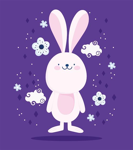 Niedliche rosa kaninchenwolken dflowers karikaturdekorationsvektorentwurf und -illustration Premium Vektoren
