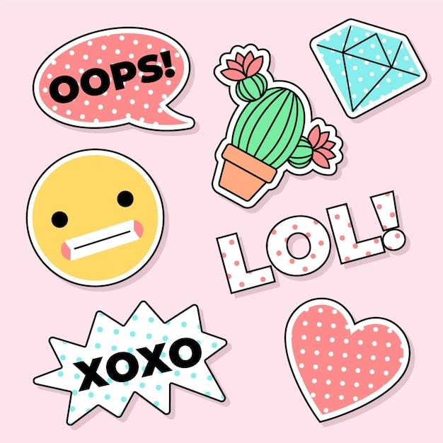 Niedliche social media emoji aufkleber Kostenlosen Vektoren
