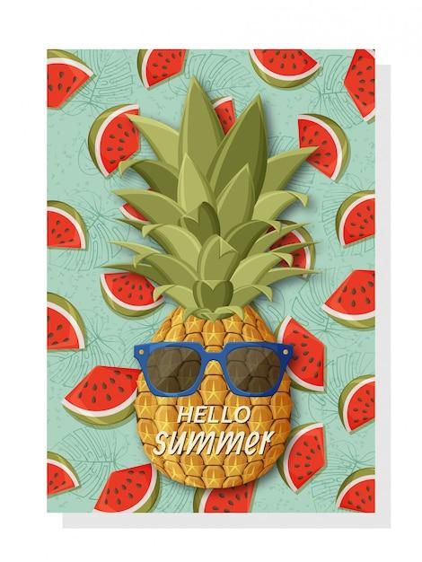 Niedliche sommerhintergrundschablone für banner und tapeten, einladungskarten und plakate. coole ananas in sonnenbrille und wassermelone auf der rückseite. Premium Vektoren