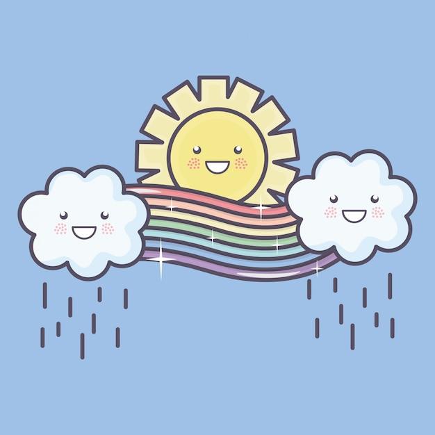 Niedliche sommersonne und -wolken regnerisch mit regenbogen kawaii charakteren Kostenlosen Vektoren