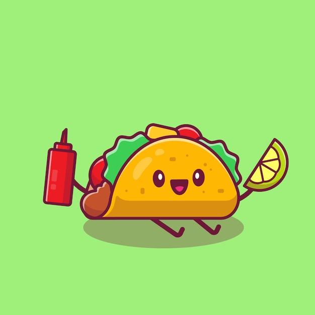 Niedliche taco, die zitrone und soße-karikatur-symbol-illustration hält. fast-food-cartoon-symbol-konzept isoliert. flacher cartoon-stil Premium Vektoren