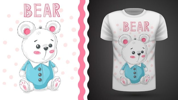 Niedliche teddybäridee des teddys für druckt-shirt Premium Vektoren