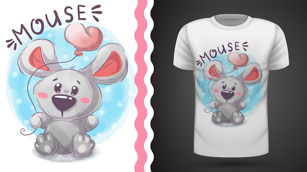 Niedliche teddymaus - idee für druckt-shirt Premium Vektoren