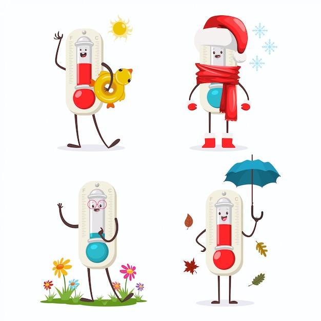 Niedliche thermometer-zeichentrickfigur der vier jahreszeiten: winter, frühling, herbst und sommer. Premium Vektoren