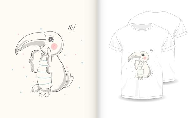Niedliche tierbilder mit t-shirt für baby. Premium Vektoren