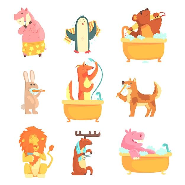 Niedliche tiere, die in wasser baden und waschen, eingestellt für. hygiene und pflege, cartoon detaillierte abbildungen Premium Vektoren
