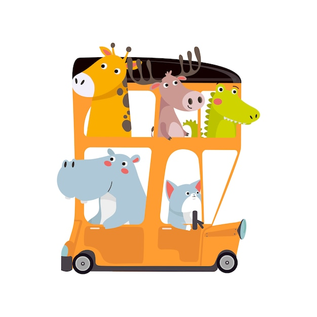 Niedliche tiere, die mit dem bus reisen Premium Vektoren