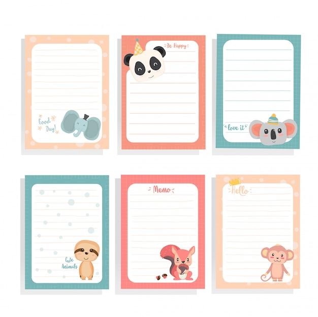 Niedliche tierfaultier des handabgehobenen betrages, panda, eichhörnchen, koala, affe auf briefpapiersammlung Premium Vektoren