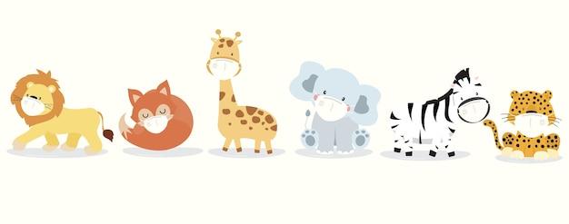 Niedliche tiersammlung mit löwe, giraffe, fuchs, zebra, elefant, leoparden tragen maske. Premium Vektoren