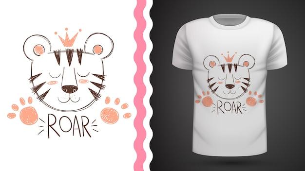 Niedliche tigeridee für druckt-shirt Premium Vektoren