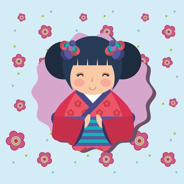 Niedliche traditionelle japanische kokeshi puppe in den kimonoblumen Premium Vektoren