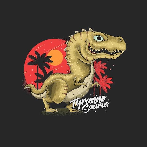 Niedliche tyrannosaurusillustration Premium Vektoren
