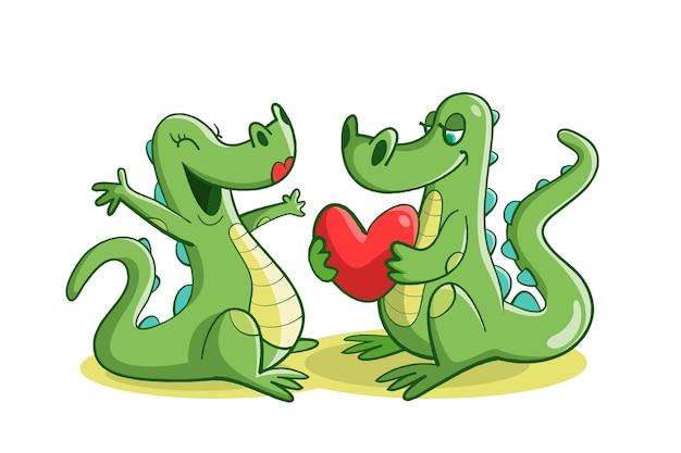 Niedliche valentinstag tierpaare mit krokodilen Kostenlosen Vektoren