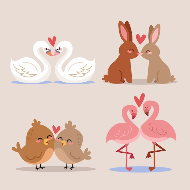 Niedliche valentinstag tierpaare Kostenlosen Vektoren