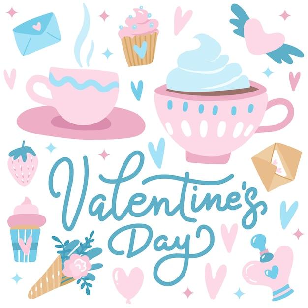 Niedliche valentinstaggrußkarte mit herzen, paaren von teetassen, kleinen kuchen und blumen. Premium Vektoren
