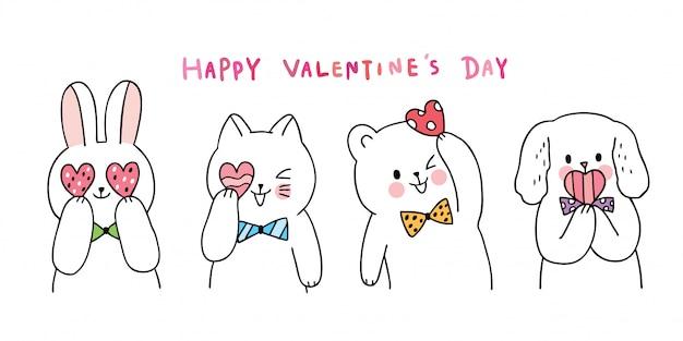 Niedliche valentinstagkatze und -kaninchen der karikatur und hund und bär und herzen Premium Vektoren