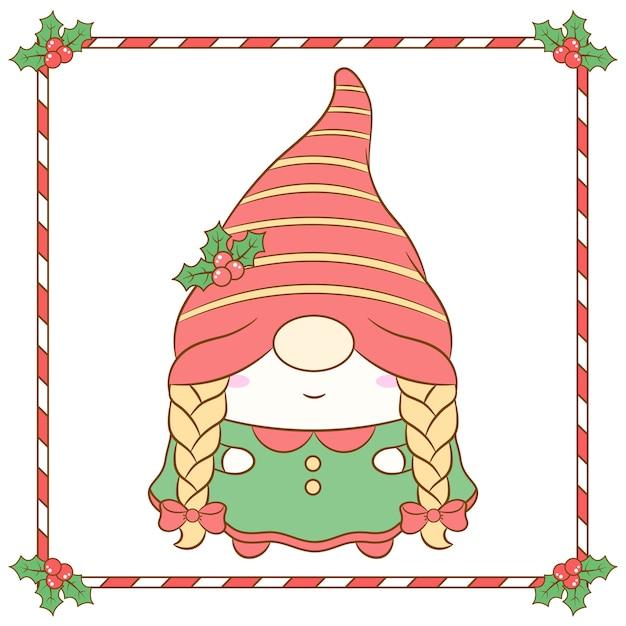 Niedliche weibliche weihnachtsgnome, die mit langem roten beerenhut und rahmen zeichnen Premium Vektoren