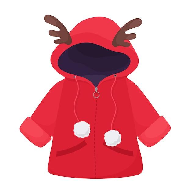 Niedliche winterjacke für kinder mit hirschgeweih und pompons. im flachen stil. Premium Vektoren