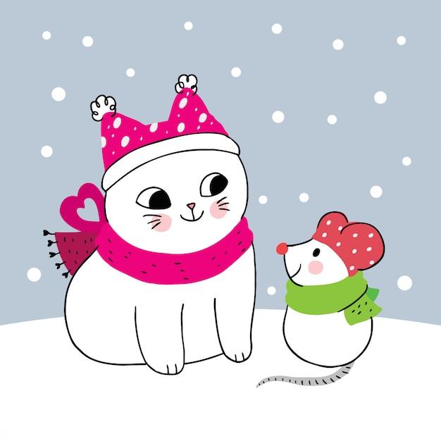 Niedliche winterkatze und -maus der karikatur Premium Vektoren