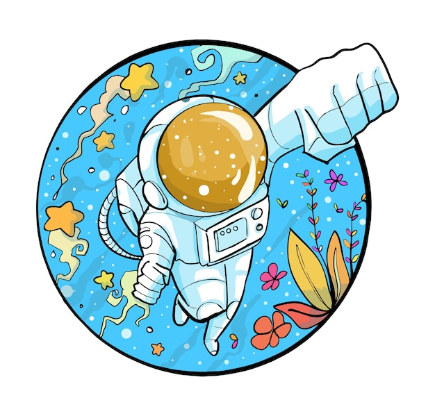 Niedlicher astronaut cartoon Premium Vektoren