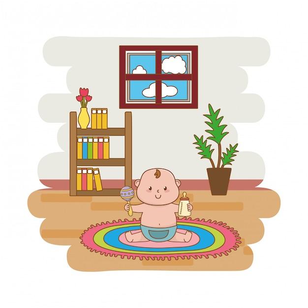 Niedlicher babyparty-cartoon Premium Vektoren