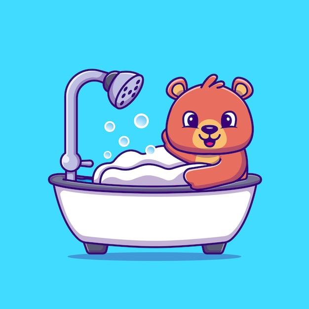 Niedlicher bär, der dusche in der badewanne-karikatur-vektor-illustration badet. tierkonzept isolierter vektor. flacher cartoon-stil Kostenlosen Vektoren
