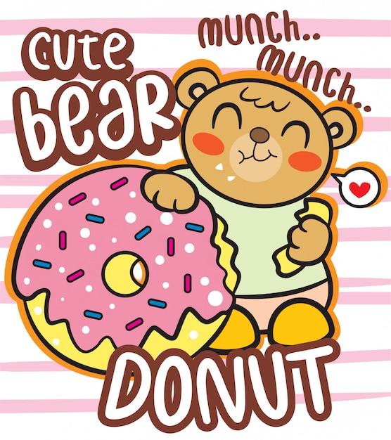 Niedlicher bär mit donut-cartoon für t-shirt Premium Vektoren
