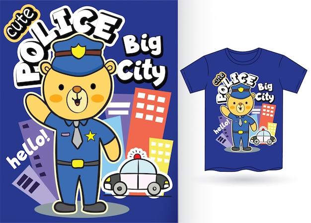 Niedlicher bärenpolizeikarikatur für t-shirt Premium Vektoren