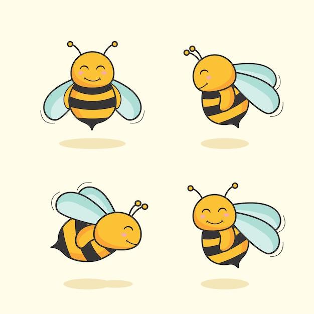 Niedlicher bienen-cartoon-tierbienen-satz Premium Vektoren