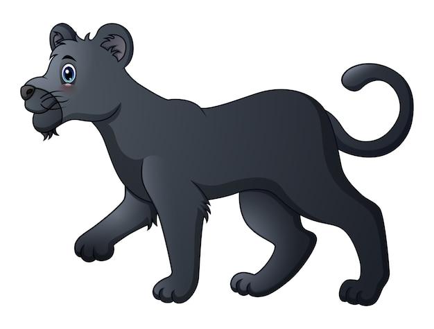 Niedlicher cartoon des schwarzen panthers Premium Vektoren