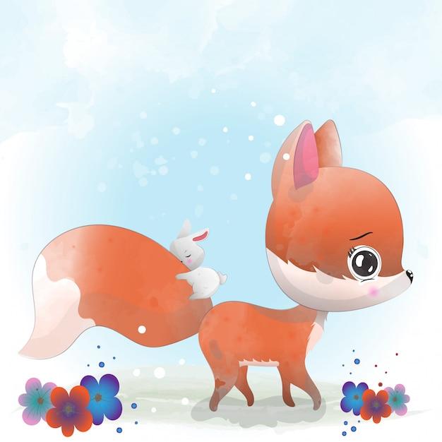 Niedlicher charakter baby fox gemalt mit aquarell Premium Vektoren