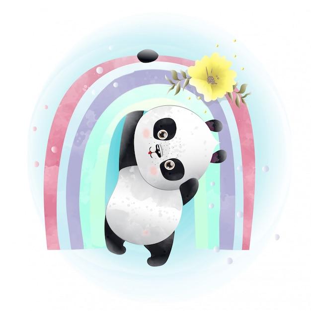 Niedlicher Charakter Des Baby Pandas Gemalt Mit Aquarellen