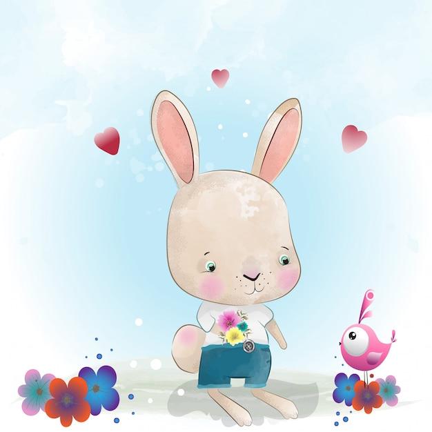 Niedlicher charakter des babykaninchens gemalt mit aquarell Premium Vektoren