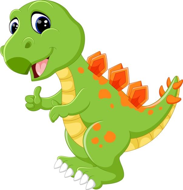 Niedlicher dinosaurier der karikatur Premium Vektoren