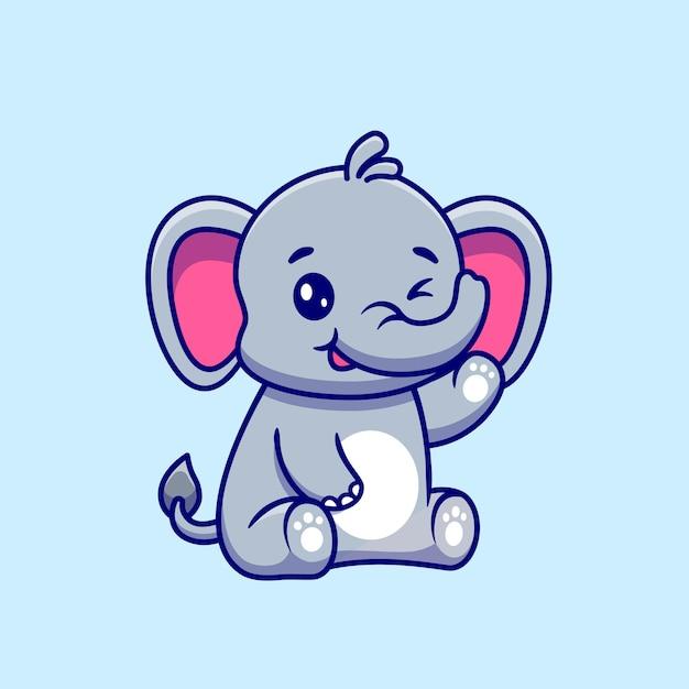 Niedlicher elefant, der hand cartoon vector icon illustration sitzt und winkt. Kostenlosen Vektoren