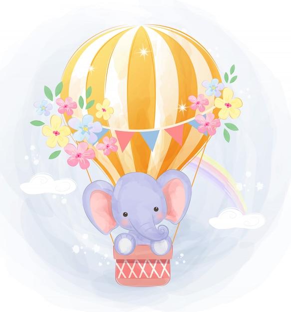 niedlicher elefant der mit luftballon fliegt  premiumvektor