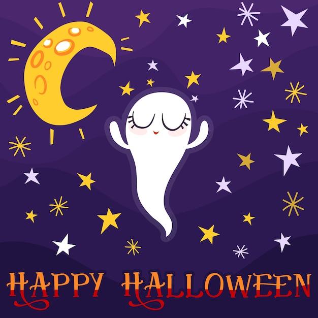 Niedlicher geistertanz mit mond und sterne halloween-grußkarte Premium Vektoren
