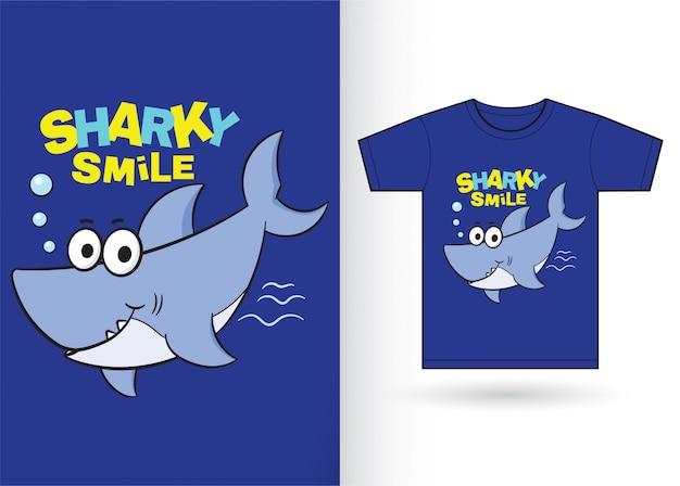 Niedlicher hai-cartoon für t-shirt Premium Vektoren