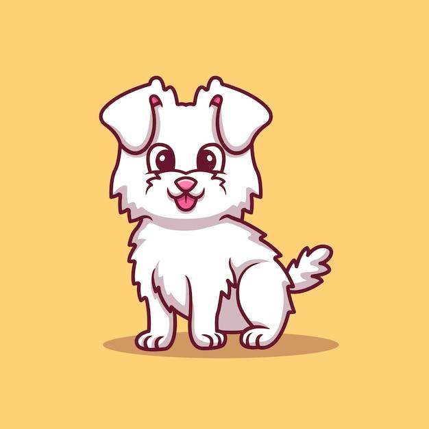 Niedlicher hund, der cartoon-vektor-illustration sitzt. tierliebeskonzept isolierter vektor. flacher cartoon-stil Kostenlosen Vektoren