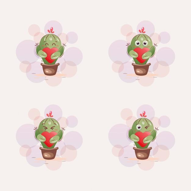 Niedlicher kaktusmaskottchen-cartoon Premium Vektoren