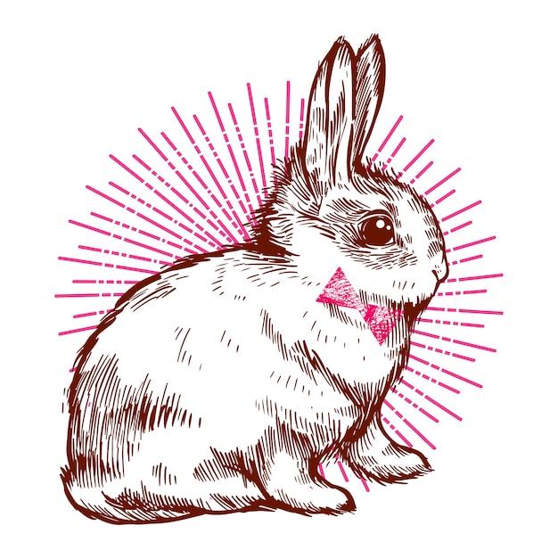 Niedlicher kaninchen hipster hase mit der fliege 1874 422
