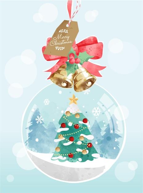 Niedlicher karikatur-geschmückter weihnachtsbaum in der schneeball-illustration Premium Vektoren